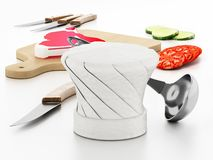 Chef`s hat, cutting board, knives and vegetable slices. 3D illustration.  vector illustration