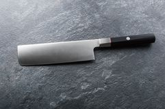 Chef`s knife from Damascus steel. A real Japanese work of art. View from above stock image