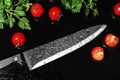 Chef`s knife and products. On black background stock photography