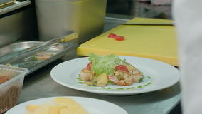 Chef`s male hands adding sauce and spices to fresh salad with shrimps stock footage