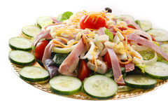 Chef's Salad. Close up view of a Chef's Salad artfully arranged on a gold-tone platter Royalty Free Stock Photography