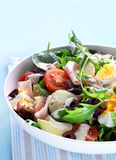 Chef's Salad. With mixed lettuce, eggs, potatoes, ham, olives, avocado, cherry tomatoes, and a creamy dressing Royalty Free Stock Photography
