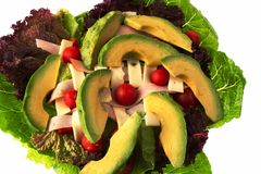 Chef's Salad with Avocado - view 1. A delicious Chef's Salad with fresh Romaine and Red Leaf lettuce, Red Pepper, Cherry Tomatoes, Thin Sliced Turkey, Swiss royalty free stock photos