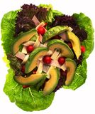 Chef's Salad with Avocado - view 3. A delicious Chef's Salad with fresh Romaine and Red Leaf lettuce, Red Pepper, Cherry Tomatoes, Thin Sliced Turkey, Swiss stock image
