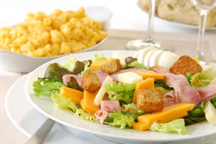Chef's Salad with Macaroni and Cheese Royalty Free Stock Image