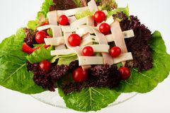 Chef's Salad - view 2. A delicious Chef's Salad with fresh Romaine and Red Leaf lettuce, Red Pepper, Cherry Tomatoes, Thin Sliced Turkey, and Swiss Cheese royalty free stock photo