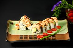 Chef's special sushi roll Stock Images