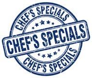 Chef`s specials blue grunge round stamp. Chef`s specials blue grunge round vintage rubber stamp Royalty Free Stock Photo