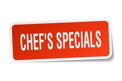 Chef`s specials square sticker. On white Stock Image