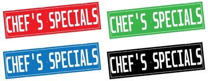 CHEF`S SPECIALS text, on rectangle stamp sign. CHEF`S SPECIALS text, on rectangle stamp sign, in color set Stock Photos