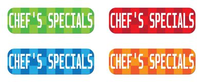 CHEF`S SPECIALS text, on rectangle, zig zag pattern stamp sign. CHEF`S SPECIALS text, on rectangle, zig zag pattern stamp sign, in color set Stock Photos