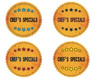 CHEF`S SPECIALS text, on round wavy border vintage, stamp badge. CHEF`S SPECIALS text, on round wavy border vintage stamp badge, in color set Stock Image