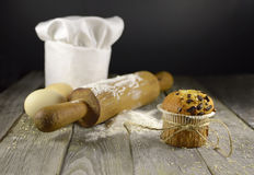 Chef's toque with muffin Stock Image