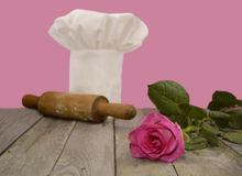 Chef's toque with pink rose 2 Royalty Free Stock Image