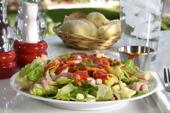 Chef salad on a picnic table Royalty Free Stock Images