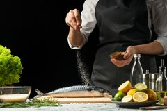 Cooking the chief of fresh fish, the chef salt fish on a black background with lemons, limes stock photography
