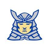 Chef samouraï Armor Helmet Retro de Bushido illustration stock