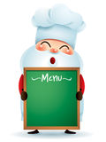 Chef Santa Claus holding a menu message board Royalty Free Stock Image