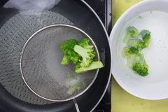Chef scald broccli with hot water Stock Photos