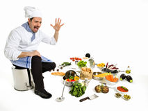 Chef scared seeing all the ingredients of his new recipe Stock Image