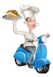 Chef on Scooter Moped Delivering Gyro Kebab Stock Photos