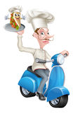 Chef on Scooter Moped Delivering Souvlaki Pita Kebab Stock Images