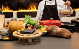 Chef by seasonal kitchen Royalty Free Stock Images