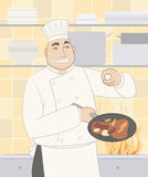 Chef seasoning a dish. Chef cook cooking gourmet dish food in a pan Stock Image
