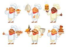 Chef servant le plat personnage de dessin animé drôle Photographie stock libre de droits