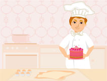 Chef serves cake Royalty Free Stock Photo