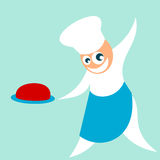 Chef serves meal. Simple character - happy and confident chef serves cooked meal royalty free illustration