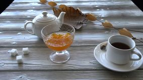 Chef serves a sweet dish of pumpkin to the table with tea stock video