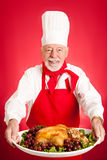 Chef Serves Turkey Dinner Stock Photography
