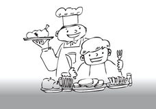 Chef serving dinner royalty free illustration