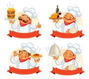 Chef serving the dish. Funny cartoon character Stock Photo