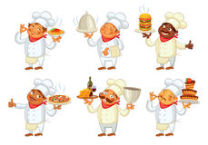 Chef serving the dish. Funny cartoon character. Vector illustration.  on white background. Set Royalty Free Stock Photography