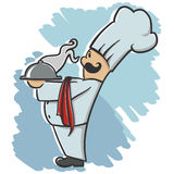 Chef serving the dish. Nice Chef serving the dish cartoon illustration Royalty Free Stock Photography
