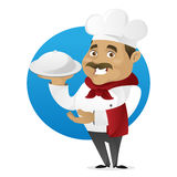 Chef serving food. Isolated in white background Stock Image