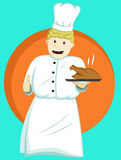 Chef Serving Food on Plate Cartoon. Chef Serving Food Stock Image