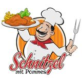 Chef serving german or austrian dish schnitzel mit pommes Stock Photo