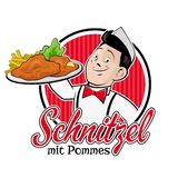 Chef serving german or austrian dish schnitzel mit pommes vector illustration