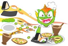 Chef serving International food is Thai cartoon character design. Illustration has clipping paths Stock Photos