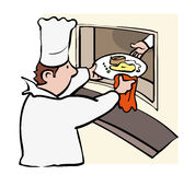 Chef serving. Chef passing dish through hatch to waiter Royalty Free Stock Image