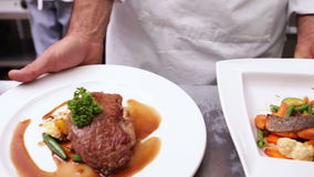 Chef serving up two dinner plates. In a commercial kitchen stock video footage