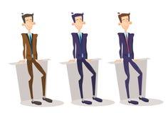 Chef Set, affärsmanFull Length Cartoon tecken för affärsman vektor illustrationer