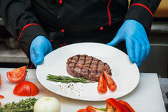 Chef set grilled meat Stock Photos