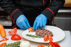 Chef set grilled meat Royalty Free Stock Image
