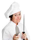 Chef Sharpens Kitchen Knife Photos stock