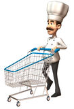 Chef with a shopping cart Royalty Free Stock Images
