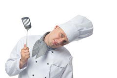 Chef with a shovel in his hand a place for an inscription from the top Stock Photo